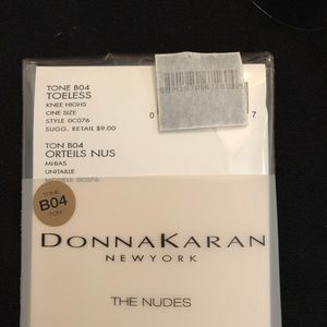 "NEW Donna Karan ""nude"" toeless knee highs"